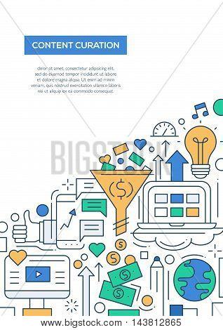 Content curation - vector line design brochure poster, flyer presentation template, A4 size layout. Business, web technology symbols