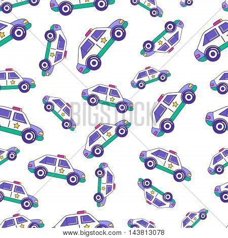 Bright Cartoon Patrol Car Seamless Pattern Design For Kids. Trendy Children Police Auto Repetitive P