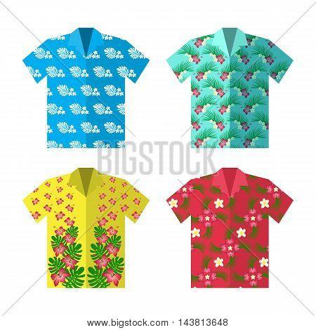 Aloha Hawaiian shirt for happy carefree vacation. Colorful vector flat illustration.