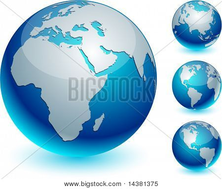 Four blue high-detailed earth balls. Vector.