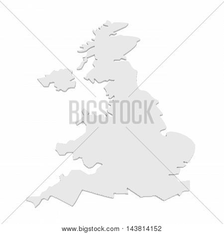 Great Britain: 3d Illustration of UK Map Isolated On A White Background