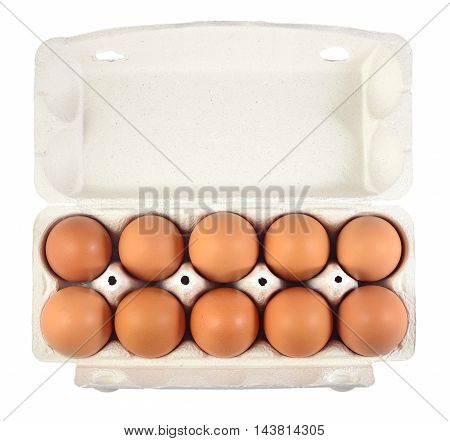 Carton Of Fresh Brown Eggs On A White