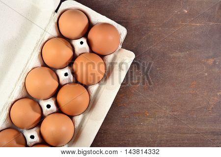Carton Of Fresh Brown Eggs