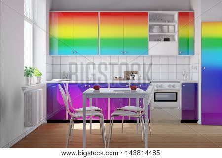 Small kitchen with colorful kitchenette in rainbow colors (3D Rendering)