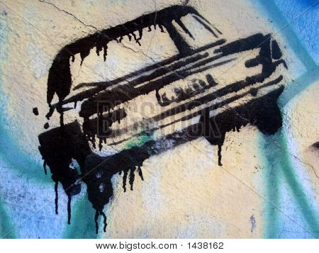 Grafitti Stencil Black Car