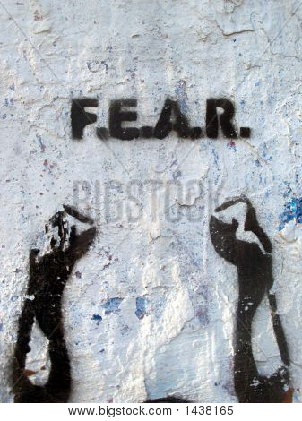 Grafitti Stencil Fear Hands