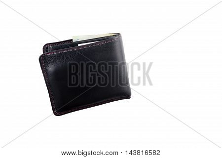 Black natural leather wallet isolated on white background. Expensive man's purse closeup