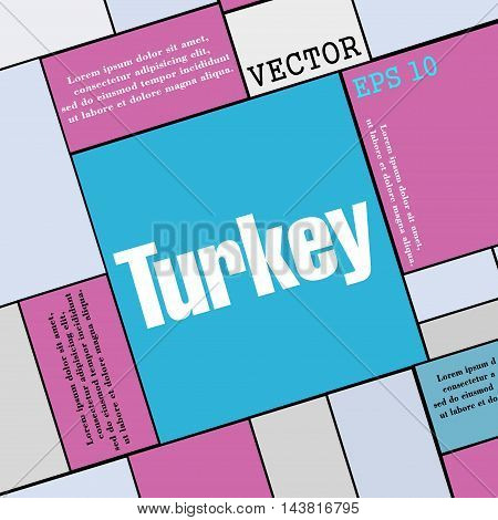 Turkey Icon Sign. Modern Flat Style For Your Design. Vector