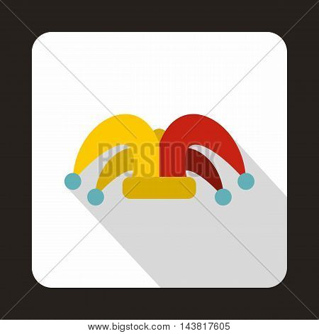 Jester hat icon in flat style on a white background