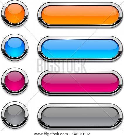 Set of vector buttons with metallic borders.