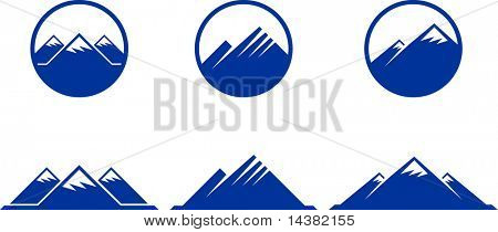 mountains icons with buttons on white background