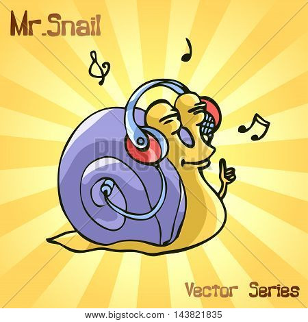 Mr. Snail with music. vector illustration EPS10