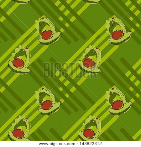 Green Avocado With Brown Kernel On Stripes