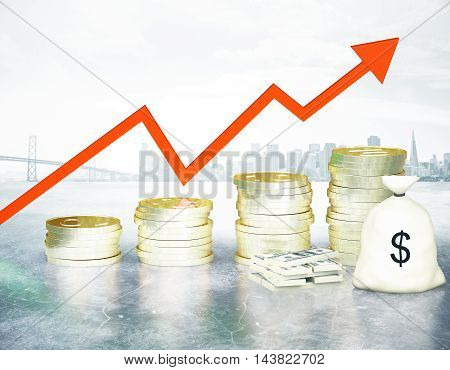 Financial growth concept with golden coin ladder upward red arrow cash stack and sack on abstract city background. 3D Rendering