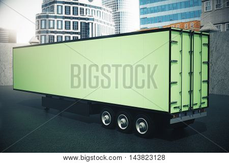 Sideview Of Green Semi-trailer
