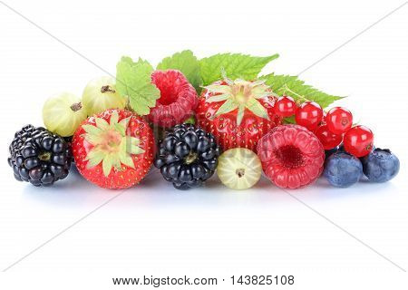 Berries Strawberries Blueberries Berry Fruits Fruit Leaves Isolated On White