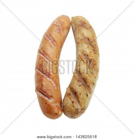 Fried smoked sausages or bratwurst isolated on white background