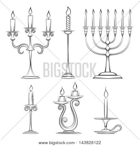 Vector hand drawn candlesticks. Vintage candelabra, candlestick and menorah sketch