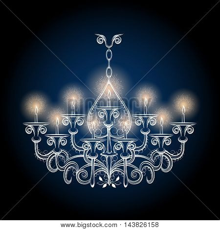 Chandelier sketch. Vector antique hand drawn gothic vintage chandelier