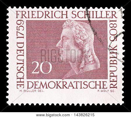 GERMAN DEMOCRATIC REPUBLIC - CIRCA 1955 : Cancelled postage stamp printed by German Democratic Republic, that shows Friedrich Schiller.