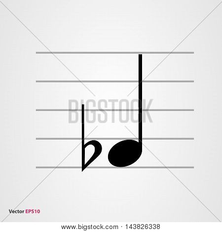 Musical symbol flat with quarter note and staff