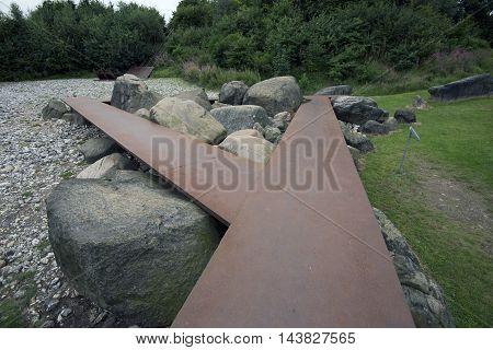 VEJLE DENMARK - AUGUST 22 2016: Jean Clareboudt (1944-1997) Landscape Sculpture