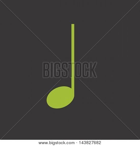 Green quarter music note vector icon in flat style