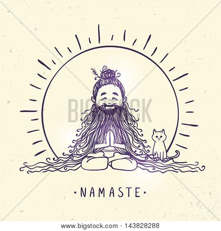 Character man in lotus meditative pose with beard and cat. Vector illustration. Practicing Yoga