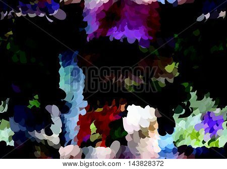 Abstract Mosaic Painted Colors With Red And Blue