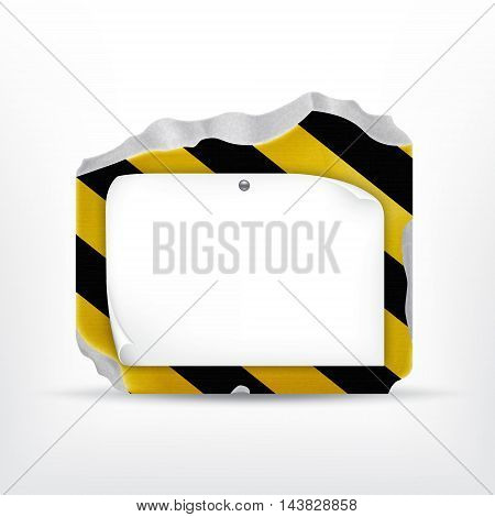 Broken stone with paper sheet on warning stripes. Vector icon. EPS10 vector