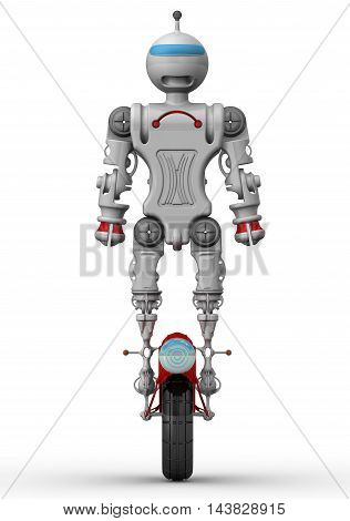 Humanoid robot on unicycle standing on a white surface. Isolated. 3D Illustration
