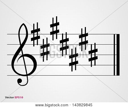 Sharp key signature symbols on gray background
