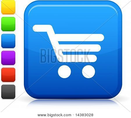 Shopping Cart icon on square internet button  Six color options included.