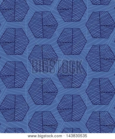 Hatched Hexagons Layered Blue