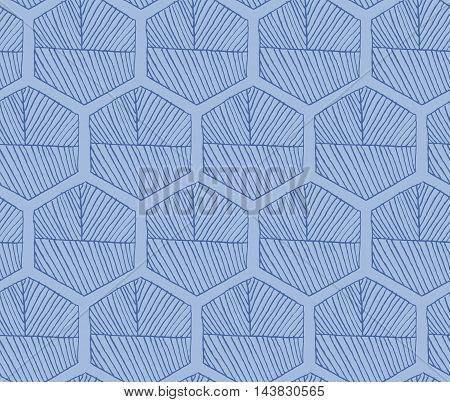 Hatched Hexagons Light Blue