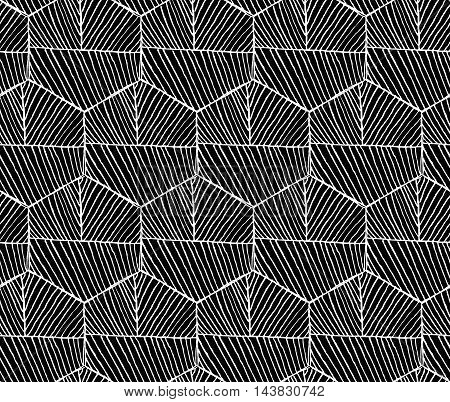 Hatched Hexagons With Seam Horizontal On Black