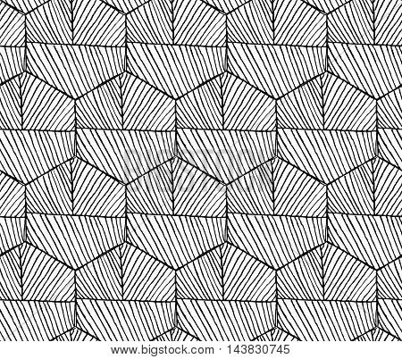 Hatched Hexagons With Seam Horizontal