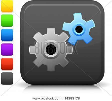 Working Gears icon on square internet button  Six color options included.