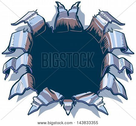This vector cartoon clip art illustration template is designed to appear as though something behind the background is ripping punching or exploding through aluminum or chrome steel sheet metal. What that something will be is up to you!