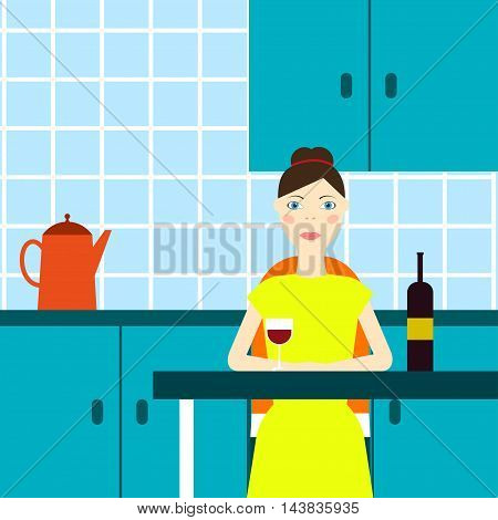 Bad housewife Vector illustration Housewife sits alone in the kitchen and drinkes red wine