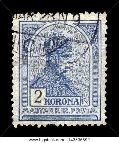 HUNGARY - CIRCA 1901: stamp printed by Hungary, shows portrait of King Franz Josef (1830-1916), Hungary, circa 1901