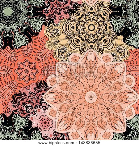 Vector seamless pattern with flowery mandalas print made in oriental style. Wrapper, textile, background or front-side.