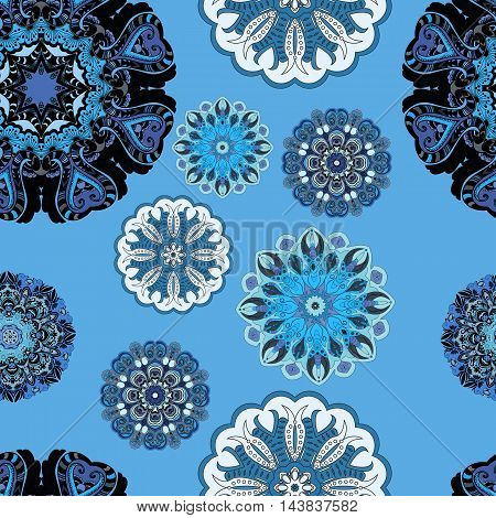 Vector seamless pattern with flowery mandalas print made in oriental style. Flowery design for textile or front-side.