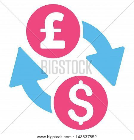 Dollar Pound Exchange icon. Vector style is bicolor flat iconic symbol with rounded angles, pink and blue colors, white background.
