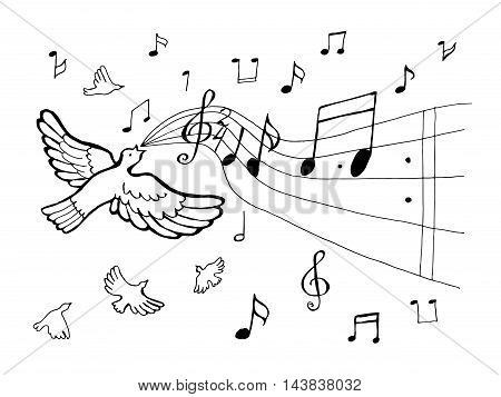 Cartoon concept vector illustration showing a bird formed from a music notation singing