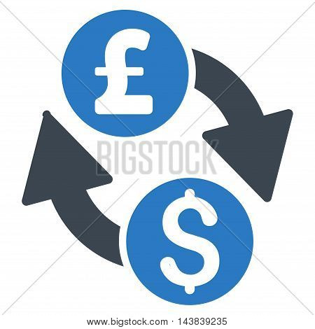 Dollar Pound Exchange icon. Vector style is bicolor flat iconic symbol with rounded angles, smooth blue colors, white background.