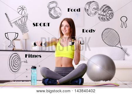 Beautiful young woman doing exercise with dumbbells at home. Sport lifestyle concept. Diversity of sport icons on background.