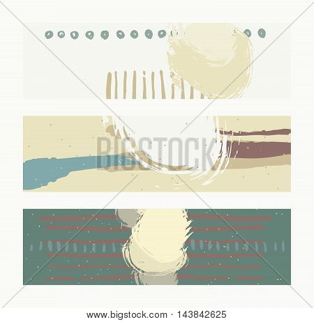 Set of horizontal banners handdrawn decorated with liquid ink brush splashes stripes strokes and spots. Isolated on background vector illustration stylish with imperfect parts in pastel colors.