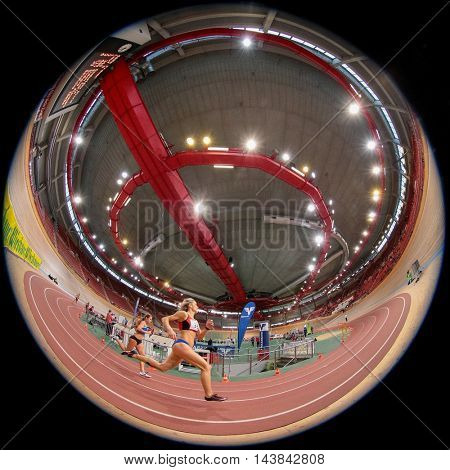 VIENNA, AUSTRIA - JANUARY 31, 2015: Zdenka Seidlova (#33 Czech Republic) competes in the women's 400m event during an indoor track and field event.