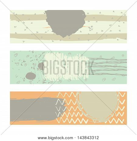 Set of horizontal banners handdrawn decorated with liquid ink brush stripes strokes and spots. Isolated on background vector illustration stylish with imperfect parts in pastel spring bright colors